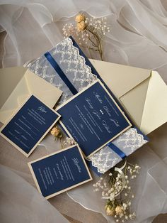 Custom listing 20 Navy Wedding Invitation Lace by forlovepolkadots