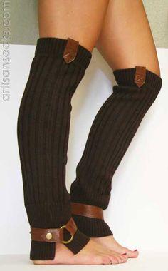 Lara Kazan Brown Wool Knit Leg Warmers with Caramel leather tab from Artisan Socks www.artisansocks.com