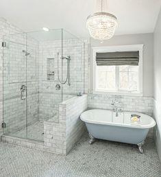 moderne badezimmer ideen fischgräten muster freistehende badewanne