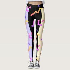 80s style pattern on leggins leggings - diy cyo & personalize