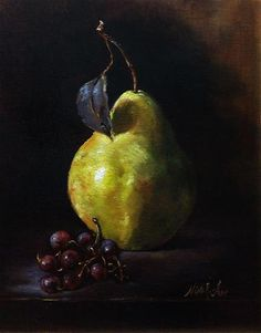 "Daily Paintworks - ""Pear and Grapes. Oil on linen ..."" by Nina R. Aide"