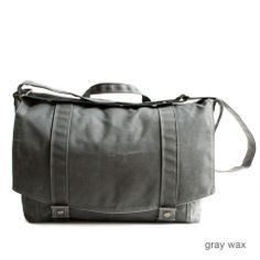 Moop Bags (Pittsburgh) -- messenger no.1 in gray waxed canvas