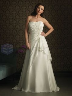 A-line Satin Ruched Bodice Strapless Scooped Neckline Sweep Train Wedding Dresses