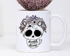 Death Before Decaf Mug, Coffee Mug For Her, Skull Mug, Cute Coffee Mug, Quote Mug, Calligraphy Mug, Coffee Quote Mug