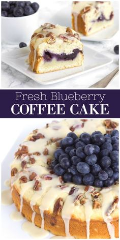 Fresh Blueberry Coffee Cake - Recipes to Cook - Torte Just Desserts, Delicious Desserts, Health Desserts, Cake Recipes, Dessert Recipes, Sweet Breakfast, Blueberry Breakfast, Blueberry Cake, Blueberry Crumble