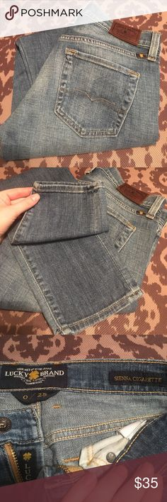 Lucky Brand Jeans Very cute and excellent condition! Style is Sienna Cigarette size 0/25. 99% cotton 1% spandex. Waist measures approximately 14.5in laying flat and inseam is 29in. Lucky Brand Jeans Skinny