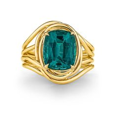 Tiffany & Co. Schlumberger Indicolite Tourmaline Gold Ring | From a unique collection of vintage fashion rings at https://www.1stdibs.com/jewelry/rings/fashion-rings/