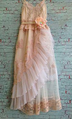 blush whisper pink & off white layered knifed pleat ruffles lace boho party dress by mermaid miss k