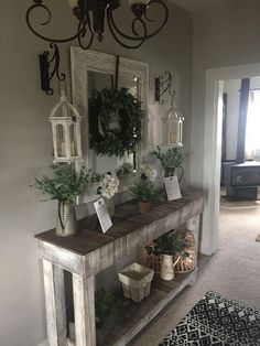 Beautiful Entry Table Decor Ideas to give some inspiration on updating your house or adding fresh and new furniture and decoration. Beautiful Entry Table Decor Ideas to give some inspiration on updating your house Diy Entryway Table, Farmhouse Entryway Table, Entry Tables, Rustic Entryway, Foyer Table Decor, Farmhouse Front, Entryway Ideas, Vintage Farmhouse, Pallet Entry Table