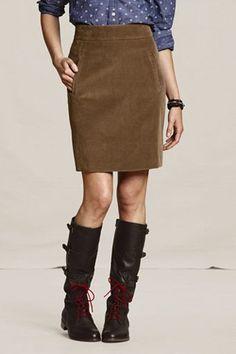 Canvas corduroy skirt.