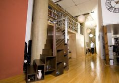 Two Story Library Loft  | A stunning two-story library loft with plenty of storage.
