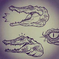 crocodile flash tattoo design by @dirtytommy