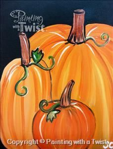 Painting idea for the autumn season. Halloween Pumpkins from Painting with a Twist. Fall Canvas Painting, Autumn Painting, Autumn Art, Canvas Art, Pumpkin Painting, Pumpkin Carving, Pumpkin Canvas, Canvas Crafts, Rock Painting