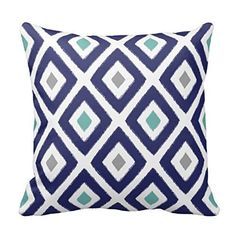 Aqua and Navy Diamond Pillow Cover