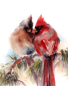 Watercolor Print, Northern Cardinal Birds Couple Watercolor Painting Art Print…