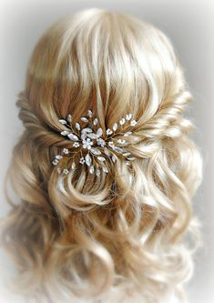 Crystal and Pearl Hair Pins Gold Wedding Hair by TheRedMagnolia