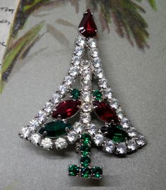 Vintage Signed HOBE' Rhinestones Christmas Tree Brooch