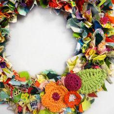 Creative Fall Wreaths: Pumpkins, Pom-Poms & More!: Fabric Scrap Wreath (via Parents.com)