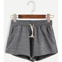 Grey Marled Knit Drawstring Shorts ($11) ❤ liked on Polyvore featuring shorts, bottoms, grey, knit shorts, drawstring shorts, stretch shorts, stretchy shorts and draw string shorts