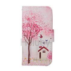 Schöne Blumen-Baum-Magnet-Schlag-Standplatz TPU   PU-Leder Tasche für iPhone 5 / 5S