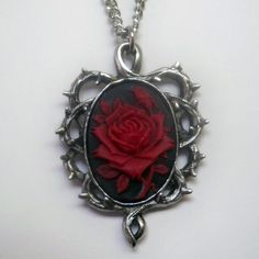 Red and Black Rose Cameo Necklace [NK604RB] - $12.99 : Mystic Crypt, the most unique, hard to find items at ghoulishly great prices!