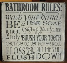 Primitive Rustic Western Shab Bathroom Rules by theprimitivebarn1.
