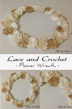 DIY Lace and Crochet Flower Wreath