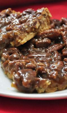 Pecan Pie Bars recipe tastes just like pecan pie but you don't have to mess around with a pie crust! Bring this for dessert on Thanksgiving or Christmas!