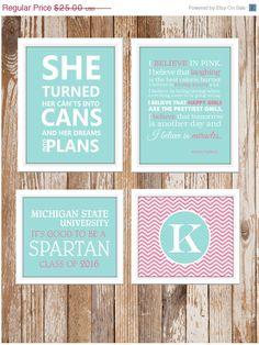 ON SALE Dorm Decor Custom Colors and School 4 by TheEducatedOwl, $22.50