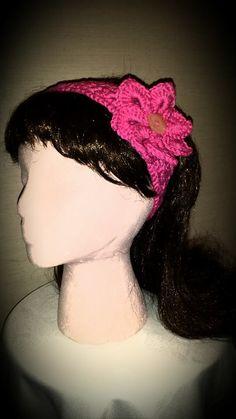 Crocheted flower headband