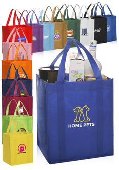 Custom non-woven polypropylene reusable grocery bags in bulk cheap wholesale prices. Our promotional tote bags can be printed with your logo or graphic design. Plastic Shopping Bags, Reusable Shopping Bags, Reusable Tote Bags, Custom Reusable Bags, Custom Tote Bags, Wholesale Tote Bags, Cheap Wholesale, Non Woven Bags, Personalized Tote Bags