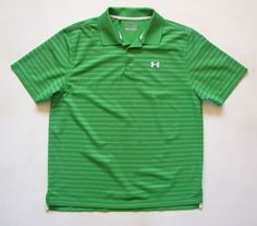 UNDER ARMOUR MENS L large  LOOSE GREEN STRIPED POLO GOLF SHIRT #UNDERARMOUR #PoloRugby