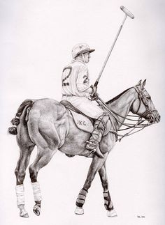 A pencil sketch of a polo player Gear Drawing, Drawing Ideas, Polo Horse, Polo Logo, Equine Art, Horse Art, Horse Riding, Art Techniques, Vintage Prints