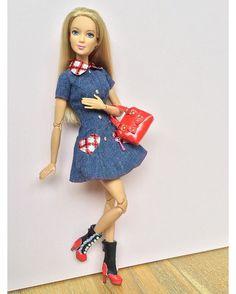 Denim dolly dress!  Doll: Tall Fashionista on a Made to Move body. #barbie #barbiedoll #barbiestyle #barbiemadetomove #madetomovebarbie #barbiefashionista #tallbarbie #dollclothes #dollfashion #dollphotogallery #instadoll #dollstagram #denimdress #90sstyle