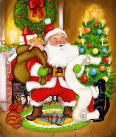 Let Me Check My List by Joseph Holodook ~ Santa ~ toys ~ wreath ~ Christmas tree ~ puppy ~ kitten ~ mice