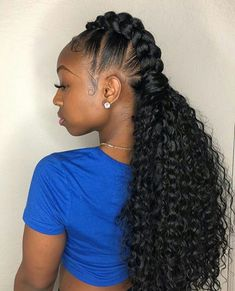 Braided Ponytail Styles 12076 25 Pretty Hairstyles for Black Women 2018 African American Cute Braided Hairstyles, Cute Simple Hairstyles, Braided Hairstyles For Black Women, My Hairstyle, Pretty Hairstyles, Girl Hairstyles, Black Hairstyles, Braided Ponytail, Hairstyles 2018