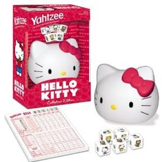 Yahtzee Hello Kitty  byUSAopoly  4.6 out of 5 starsSee all reviews(7 customer reviews) | Like (15)  List Price:$19.99  Price:$15.23 & eligible for FREE Super Saver Shipping on orders over $25.