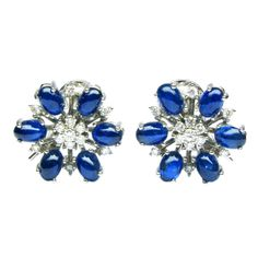 Diamond and Sapphire White Gold Earrings   | From a unique collection of vintage more earrings at http://www.1stdibs.com/jewelry/earrings/more-earrings/