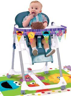 1st Birthday Sesame Street High Chair Decorating Kit 2pc - Party City