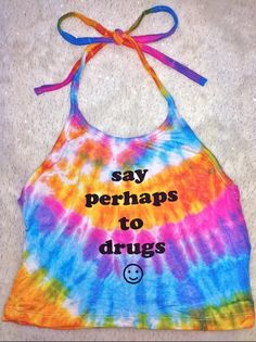 Hmmm... Perhaps, perhaps, perhaps... Always say perhaps to drugs Round neck halter tank ft. #OMIGHTY OG prints Stretchy AF Cotton spandex blend Cropped and lightweight