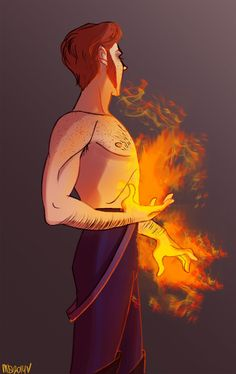 Hans having fire powers to contrast Elsa`s ice powers... LOVE IT!