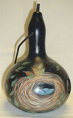 Birds Nest Gourd Birdhouse Hand Painted by FromGramsHouse ...