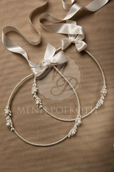 Elegant handcrafted wedding crowns - stefana in vintage style with silk cord and lemonblossom on the sides, joined by a quality satin ribbon.