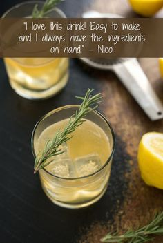 Lemon & Rosemary Bourbon Sour - A modern twist on a classic cocktail. This herb-infused whiskey drink is perfect for the fall and winter months! | foxeslovelemons.com