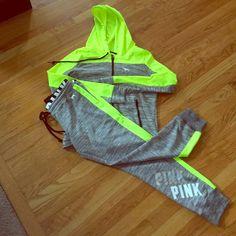 Victoria Secret PINK sweatsuit VS PINK neon green zip up jacket with logo sweats! Worn once!! PINK Victoria's Secret Other
