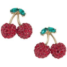 Abs by Allen Schwartz Gold-Tone Pave Cherry Drop Earrings (¥4,435) ❤ liked on Polyvore featuring jewelry, earrings, gold, drop earrings, abs by allen schwartz, goldtone jewelry, gold tone jewelry and gold colored earrings