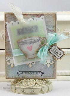 Shabby Afternoon Tea Card...nice vellum envelope & colors.