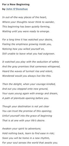 For A New Beginning by John O'Donohue