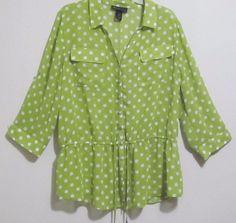 Lane Bryant top women's size 18/20 green polka-dot 3/4 sleeve semi sheer M21 #LaneBryant #BlouseButtonFront #CareerCasualClubwear