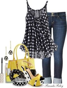Love the polka dots & yellow! #fashion #style #stylish #inspiration #love #cute #beauty #beautiful #pretty #girly #girls #styles #makeup #cosmetic #cosmetics #glam #glamour #trends #tips #beautytips #dnacosmetics www.dnacosmetics.com